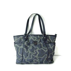 TOUS Kaos soft Denim Blue Leather trim tote bag